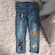 GIRLS NEXT Superbe Jean Broderie Patch Leggings Jeggings Jeans 2-3 ans