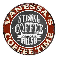 CWCT-0195 VANESSA'S COFFEE TIME Chic Tin Sign Decor Gift Ideas