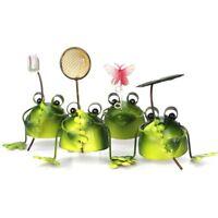 4pcs Small Frog Metal Outdoor Garden Pond Ornament Sculpture Decoration UK hO