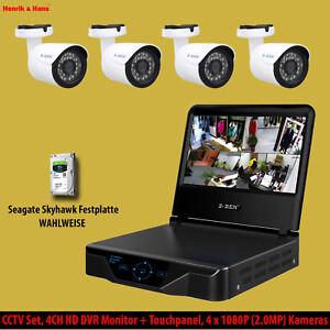Videoüberwachung Set 4CH DVR mit Monitor 4x 2MP Außen Überwachungskamera + 1/2TB