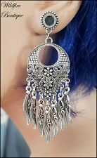 Pair Stainless Steel Silver Feather Tribal Design Dangle Ear Tunnels Plug 6-30mm