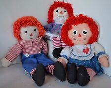 Vintage Raggedy Ann Andy Stuffed Doll Lot of 3