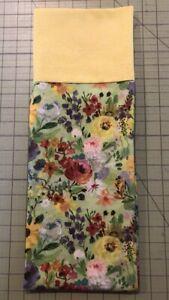 Homemade Cotton Yellow & Green Flowers Pillowcase - handmade, standard size