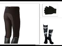 Reitset Kinder Größe 134 140 146 schwarz Vollbesatz Reithose Strümpfe Handschuhe