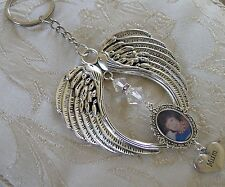 Memorial Angel Wing Mum Bag Charm/Keyring/Keychain Made With  Swarovski Crystal