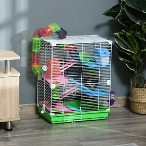 5 Tier Hamster Cage Carrier Habitat Small Animal House w/ Exercise Wheels Tunnel