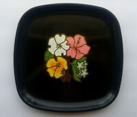 Vtg Couroc Tray Western Airlines Monterey CA  Flowers Black Plate Mid Century