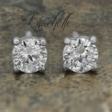 3.0 ct Brilliant Round Cut Screw Back Earring Studs Real Solid 14K White Gold