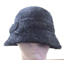 NINE WEST Hat Cloche Angora Double Band w/Bow Black 4705 One Size NWT $38
