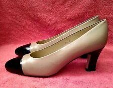 "ETIENNE AIGNER vintage taupe leather & black patent pumps 2.75"" heels, 7.5 M"