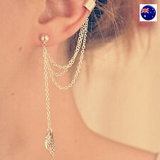 Women Lady Silver color Leaf Long Tassel Party Earrings Ear Hook Drop side clip