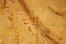 Curtain Antique French golden silk damask drape w/ fringe trim shimmering fabric