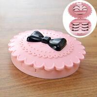 PINK Plastic Bow False Eyelash Storage Box Makeup Cosmetic Mirror Case Organizer