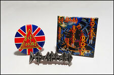 Def Leppard Lot Of 2 80's Buttons & 1992 Pewter Metal Pin Badge Starline Rocket