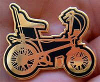 CLASSY GOLD n BLACK OLD SCHOOL RALEIGH CHOPPER ENAMEL PIN BADGE