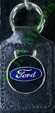 Ford round Keyring Key Ring - badge mounted on a leather fob