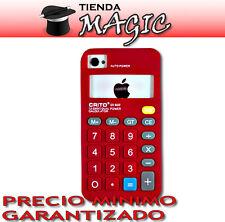 Funda carcasa silicona CALCULADORA compatible iPhone 4 ROJA retro 3D flexible