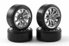 10 Spoke 1/10 Scale Drift Wheels & Tyres x 4 Fastrax Chrome 12mm HEX TT-02