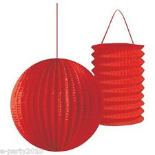 RED PAPER LANTERNS (2) ~ Festive Birthday Party Supplies Room Decorations Bright