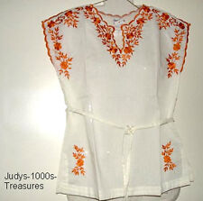WHITE CAP SLEEVE BLOUSE TANGERINE EMBROIDERY MEDIUM FROM THE PHILIPPINES