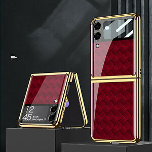 For Samsung Galaxy Z Flip 3 5G Case Folding PC Plating Glass Phone Cover Luxury