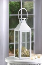 10 Manhattan Cable Pillar Candle Lanterns White Contemporary Clear Glass Panels