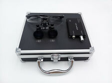 3.5x 420mm Surgical Binocular Loupes + Headlight Lamp + Aluminum Box (Black)