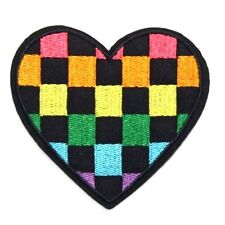 Love Heart Checkerboard Embroidered Iron Sew On Patch Valentine Badge Motif