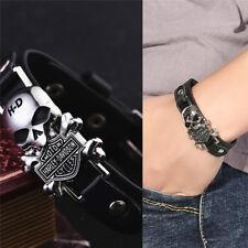 Charm Skull Bracelets Stainless Steel Rivet Punk Leather Bracelet New BestU6KS