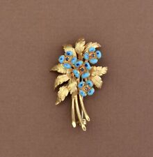 Vintage 18K Yellow Gold Leaf & Flowers Brooch- Pin, Sapphires and Blue Enamel.
