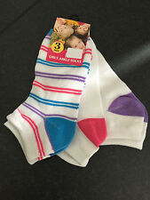 BNWT Little Girls Perfect Sports Pink/White/Purple 3 Pack Ankle Socks Sz 9-12