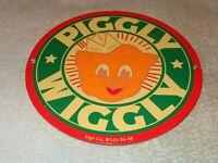 "VINTAGE 1948 ""PIGGLY WIGGLY GROCERY STORE"" 9"" PORCELAIN METAL PIG GAS & OIL SIGN"