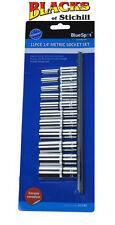 """Blue Spot Tools - 11 Piece 1/4"""" Deep Metric Socket Set on Rail, 4mm-13mm,01540"""