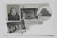 29107 Litho AK Wittenberg Martin Luther mit Lehrstuhl Lutherstube und Eiche 1900