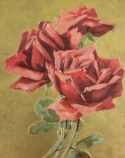 Elegant Rose Postcard Gold Foiled Embossed Congratulations C1910