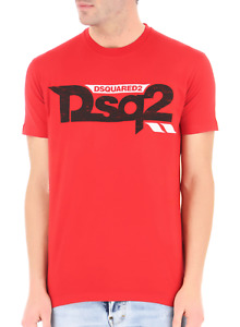 DSQUARED2 Men's T-Shirt with Dsq2 Print on front in RED Limited