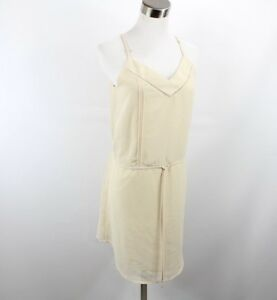 New Angl Womens Small Classy V-Line Drawstring Cami Dress Oyster Color