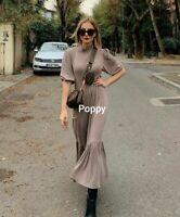 Zara Mink Ruffled Soft Touch Voluminous Dress Size M Uk 10 12