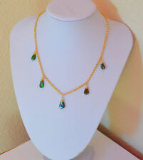 Beautiful Natural Ammolite Pear Drop Dangle Station Yellow Gold Necklace Handmad