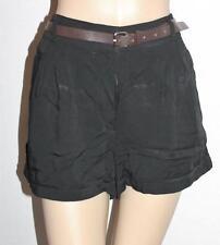 Dotti Designer Black Front Pockets Belted Cuff Shorts Size S BNWT #TB09