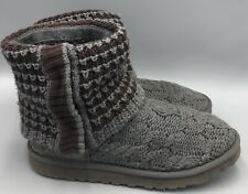 UGG Australia Leland 1000464 Gray Cable Knit Fold Over Boots Womens Size 7