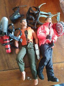 vintage  2 Action Man figure 1996 Hasbro clothes jacket  boots & odd equipment