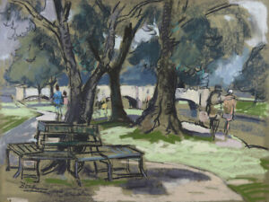Original Pastel 'Park Scene', French ??  signed, original art painting