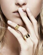Annelise Michelson Designer Womens Gold Plated Double Ring Size US 8 AU Q