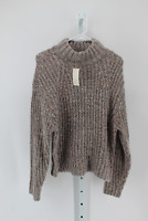 WOMEN'S RELAXED LONG SLEEVE MOCK NECK PULLOVER SWEATER- A NEW DAY GRAY XS-NEW