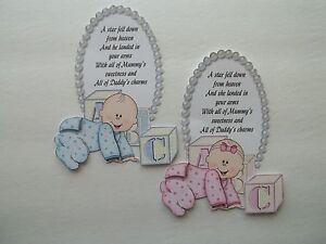 3D - U Pick - BA9A New Baby Girl Boy Sentiment Poem Scrapbook Card Embellishment