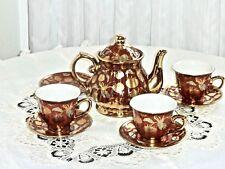 STUNNING HIGH QUALITY 24 CARAT GOLD HAND PAINTED TEA POT & 3 CUPS & SAUCERS UNUS