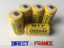 5 PILES ACCUS RECHARGEABLE CR123A 16340 3.7V 2500Mah GTF Li-ion BATTERIE