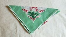 Vintage Ladies Hankie,  Green with floral design.  Excellent Condition, 12""