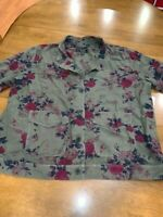 Lucky Brand Women's Jacket Olive Green & Red Floral Print Size 2XL, Pockets, NEW